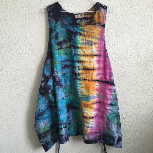 二手日本購入MARAIKA民族風紮染綁帶背心洋裝