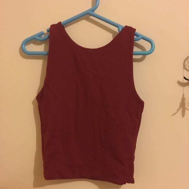 Maroon High Neck Crop