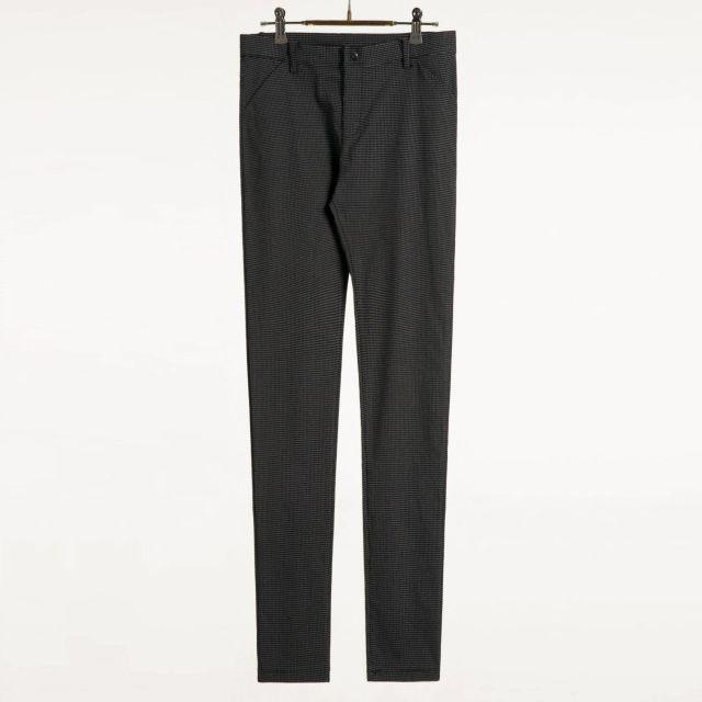 MEIER.Q  簡約經典立體口袋細格紋休閒褲 深藍白線