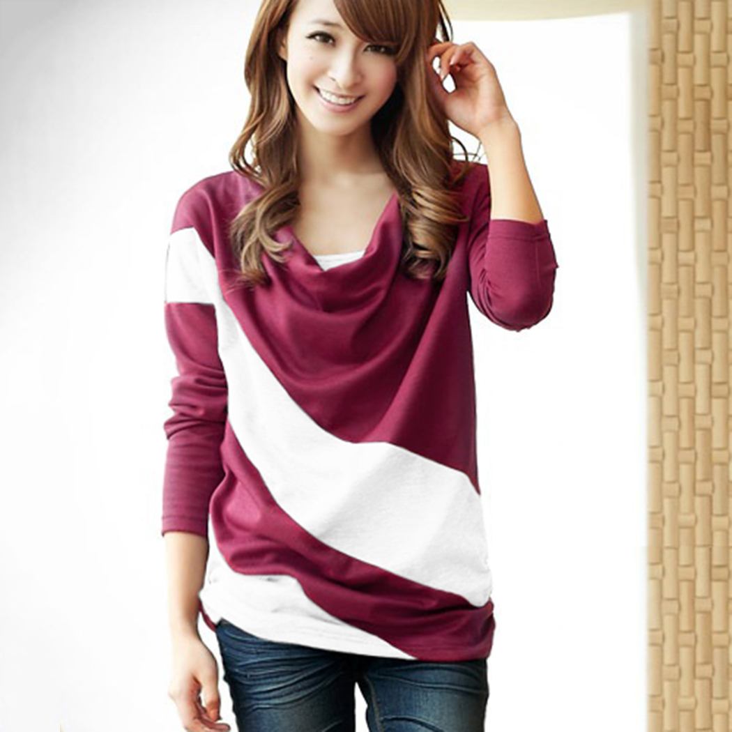 New Women Lady Heaps Collar Batwing Striped Long Sleeve Casual Tops T-shirt Hot