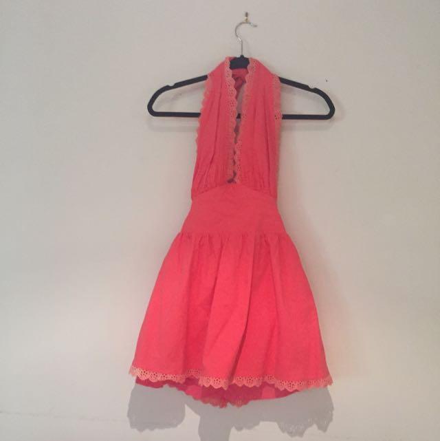 Size 8 Pink Halter Neck Dress