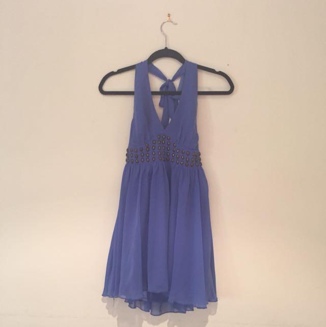 Size 8 Purple Halter Neck Dress