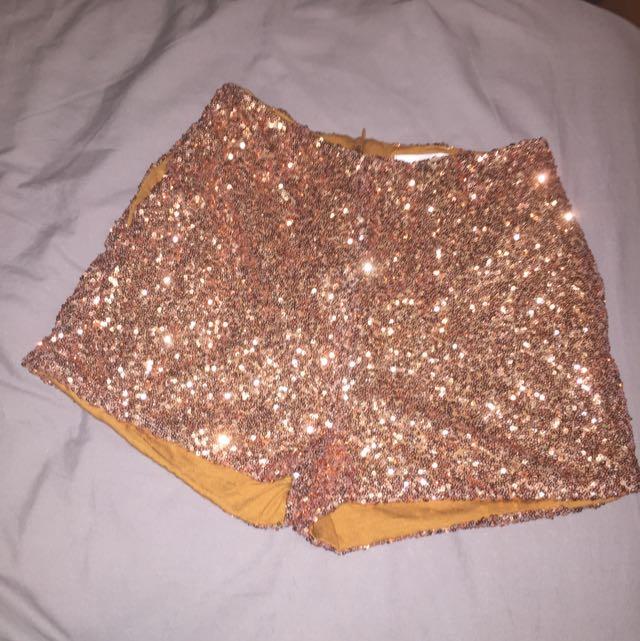 Sequin Gold Shorts High Waist