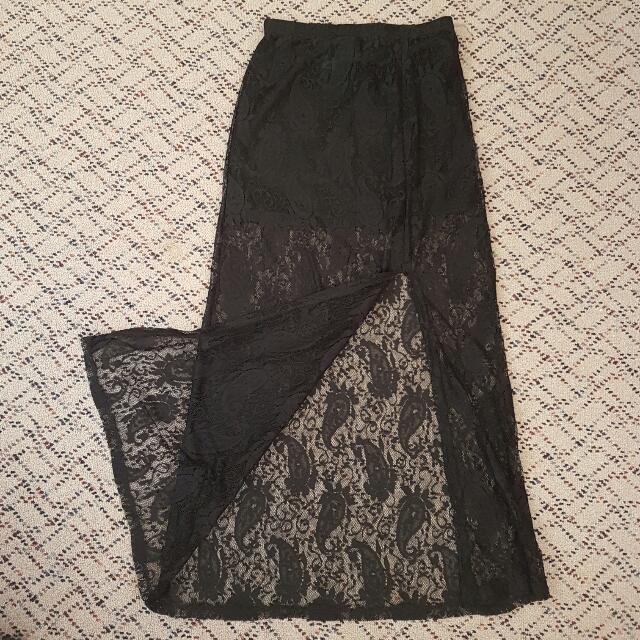 Sheer Black Long Skirt