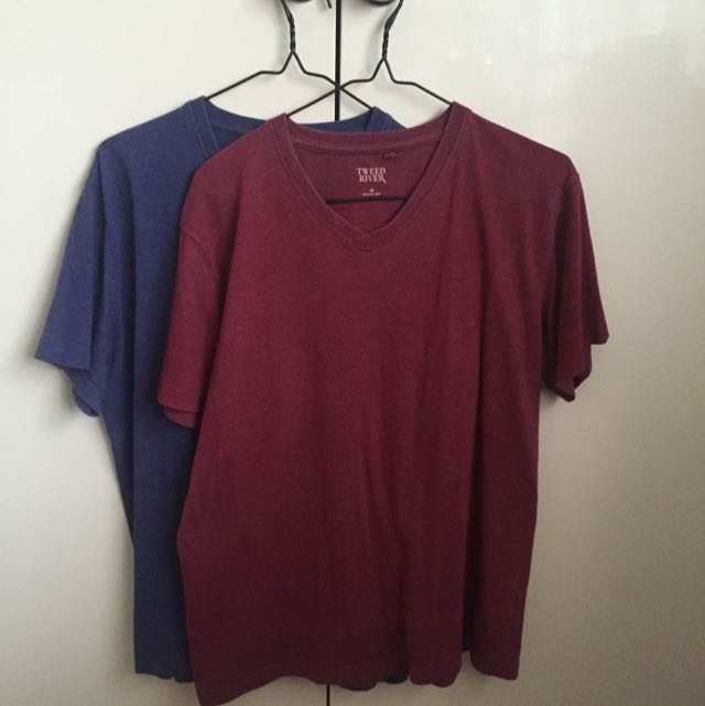 Two Men's Shirts - Blue And Red (medium)