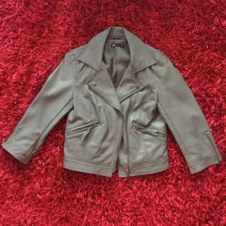 Taupe Grey Dotti Cropped Faux Leather Jacket Size 6