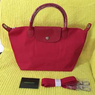 Longchamp Le Pliage Neo Tote / Crossbody Bag. Small Size. Red.