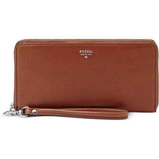 Fossil Brown Wallet/ Clutch With Zip