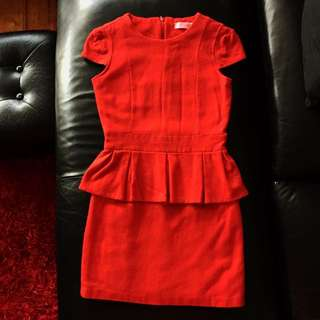 Red Wool Blend Peplum Dress Size 6 XS