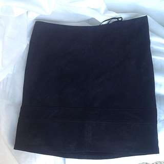 Genuine Black Suede Leather Skirt