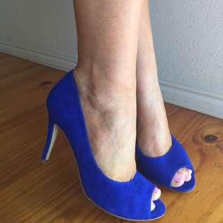 """Jo Mercer"" Electric Blue Suede Peeptoe Heels"