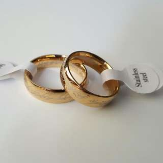 LORD OF THE RING Inspired Scripture Men Ring - Gold  Plated