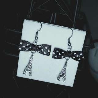 Cute Vintage Style Bow Eiffel Tower Earrings