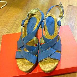 馬卡龍藍楔型涼鞋
