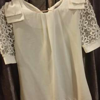 Laced Sleeve White Blouse