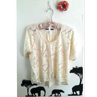 💙全新日系品牌米色蕾絲罩衫💙