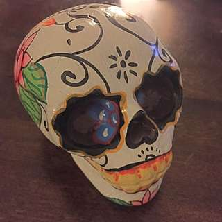 """Hand Painted """"Day Of The Dead"""" Skull"""