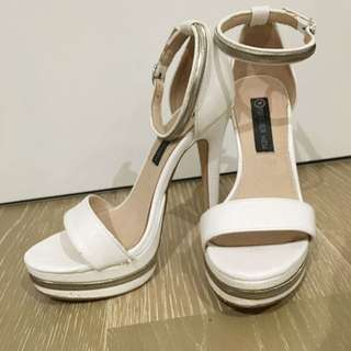 Forever New White Platform Heels with Silver Detail