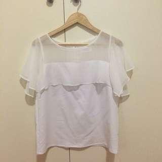 Half Sheer Half White Dressy Top