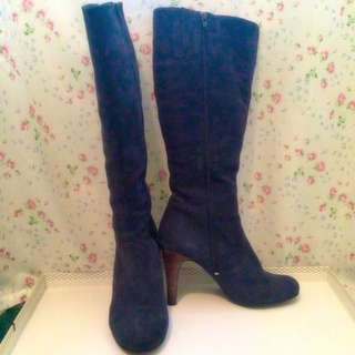 Real Suede Navy Blue Boots