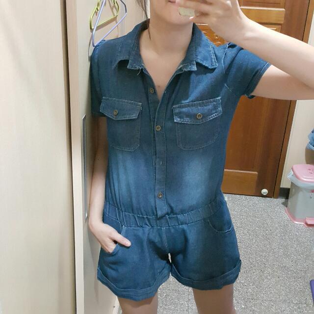 深藍單寧牛仔連身口袋短褲