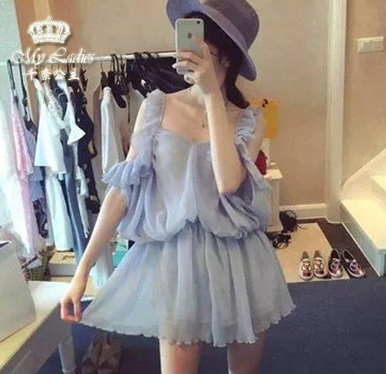 夏季女神款韓系氣質水嫩嫩露肩設計收腰皺褶雪紡連身裙*現貨