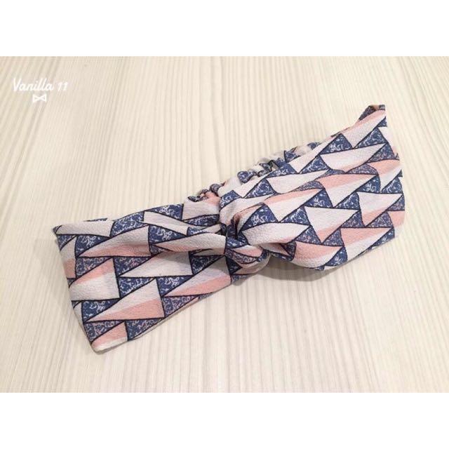 韓國 幾何圖形 粉色系 春夏款 交叉 鬆緊 髮帶
