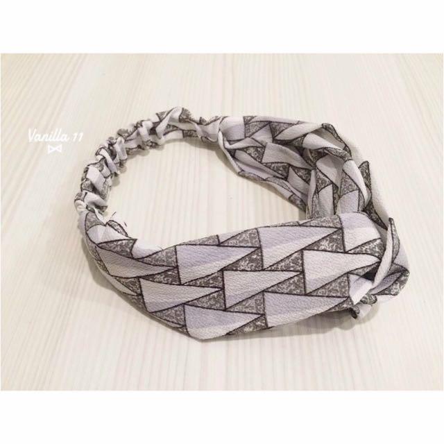 韓國 幾何圖形 反覆 灰色 交叉 鬆緊 髮帶