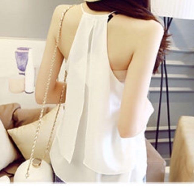 細肩帶背心 性感V領雙層雪紡無袖背心(白)