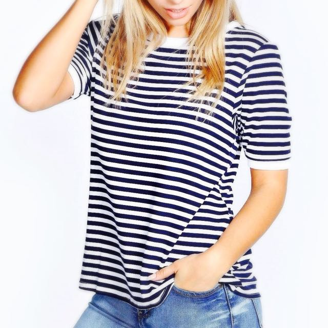 BNWT Boohoo Striped Top Navy White