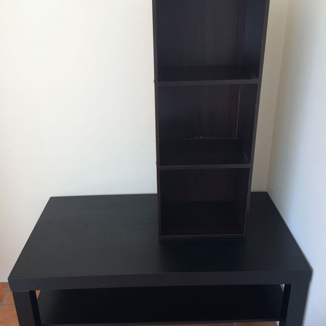 Coffee Table With Shelf And 3 Tier Bookcase