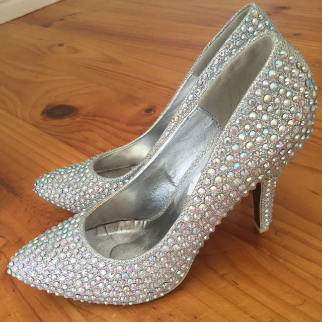 Diamonte Silver High Heel Pumps