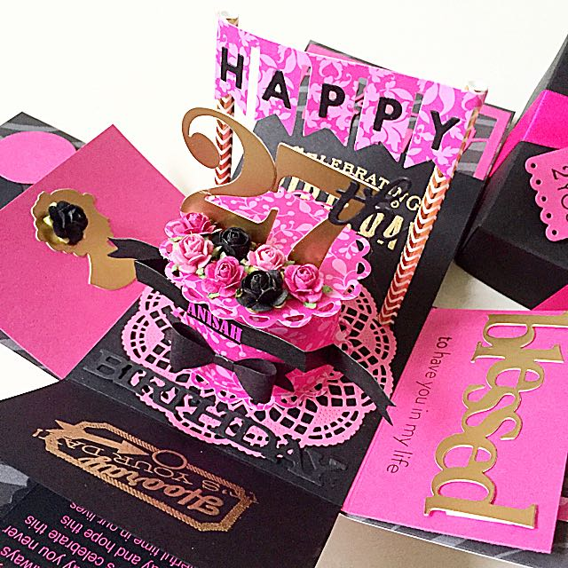 Happy 27th Birthday Explosion Box Card In Black And Hot Pink