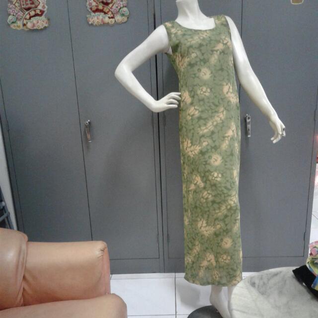 Long Flower Dress(green&yellow)
