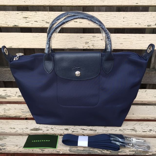 Longchamp Le Pliage Neo Tote / Crossbody Bag. Small Size. Navy.