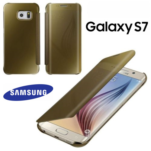 New Smart Luxury Smart View Flip PC Hard Mirror Case Cover For Samsung Galaxy S7 GOLD