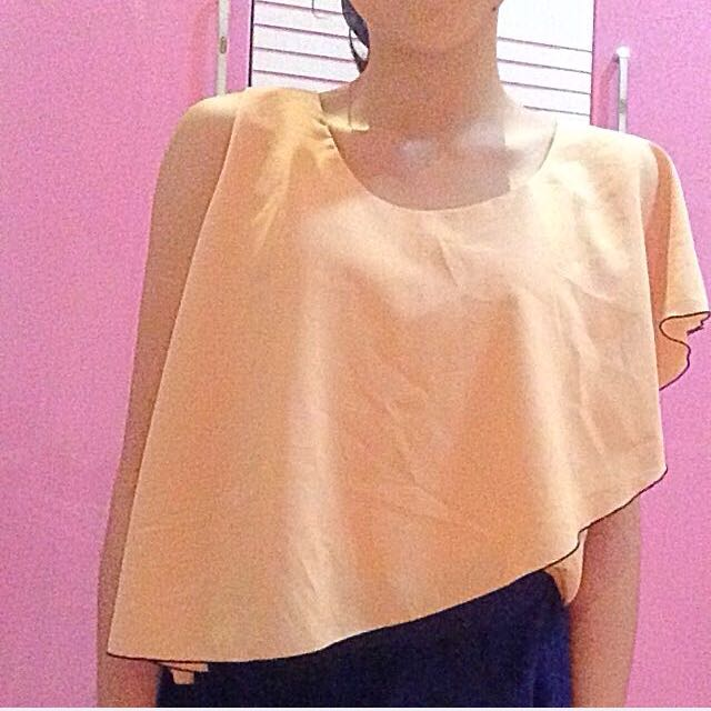 one shoulder peach top