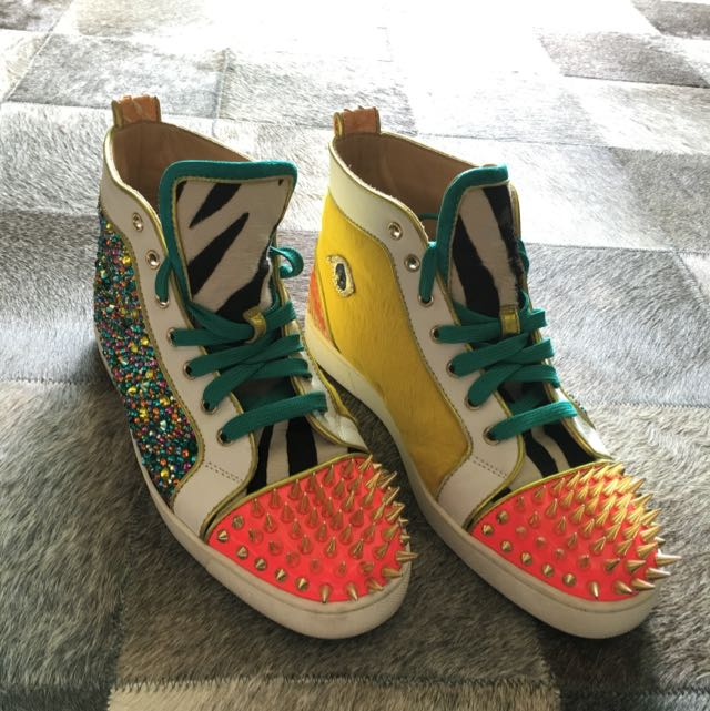 c6d5589563cb  Very Rare  Men s Christian Louboutin No Limit Flat Python Strass Spikes  Multicolor