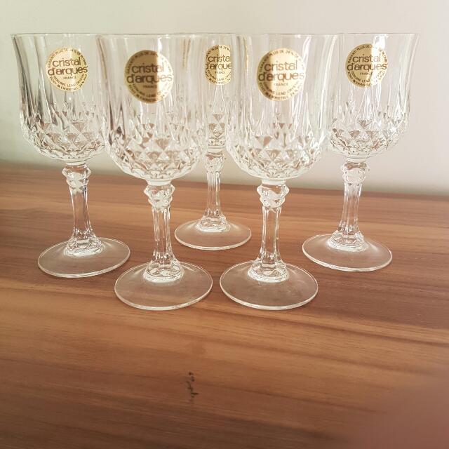 VINTAGE Cristal D'arques Crystal Wine Glasses