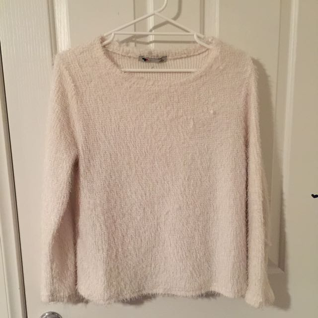 White Fluff Crop Jumper