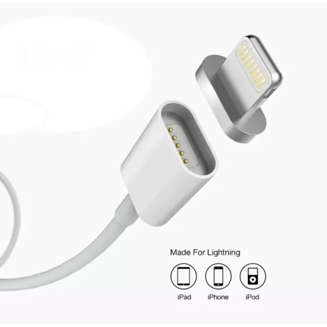 White iPhone 5/5s/6/6s/plus iPad Mini/ Pro USB Magnetic Data And Charge cable