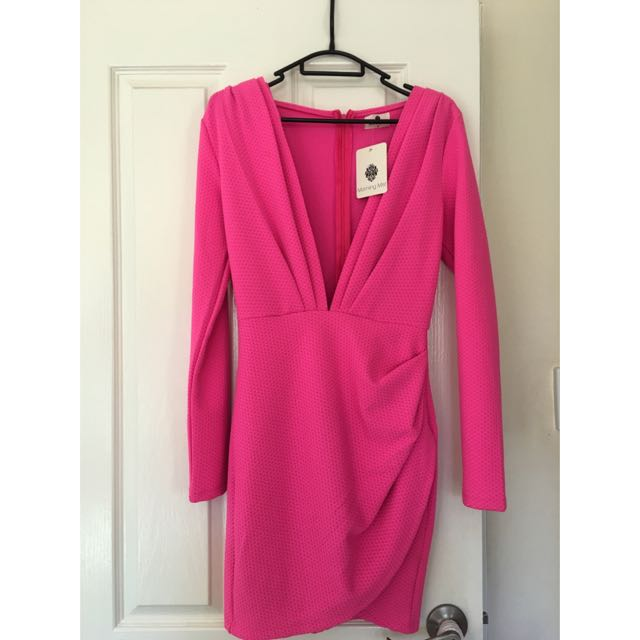 Womens Pink Low Cleavage Cut Dress