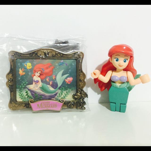 迪士尼小美人魚愛麗兒絕版畫框畫架yujin