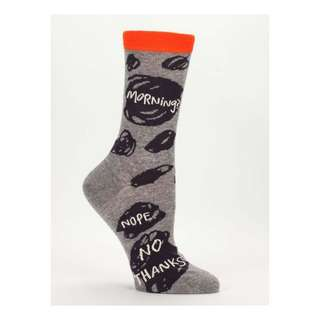 Morning, No Thanks - Blue Q Women's Crew Socks - Funny and Quirky