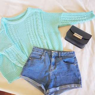 Mint Green Cosy Cable Knit