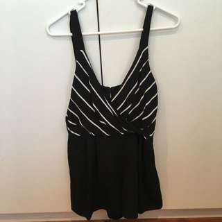Minkpink Black And White Stripe Playsuit size XS