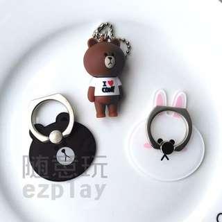 韓國 line 熊大 可尼兔兔 手機指環 手機支架 手機架 指環扣 iPhone 5 6 6s plus