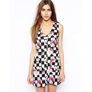 英國品牌  設計師黑白格花卉款 連身裙/洋裝