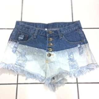 high waist denim ombre short pants