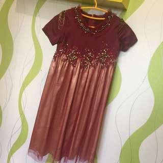 Dress Maroon Gold Size Age 5-6 Thn